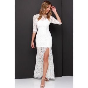 Lulus white lace maxi gown dress s small